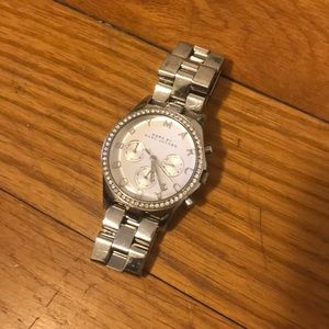 Marc Jacobs watch, silver with embellished face.
